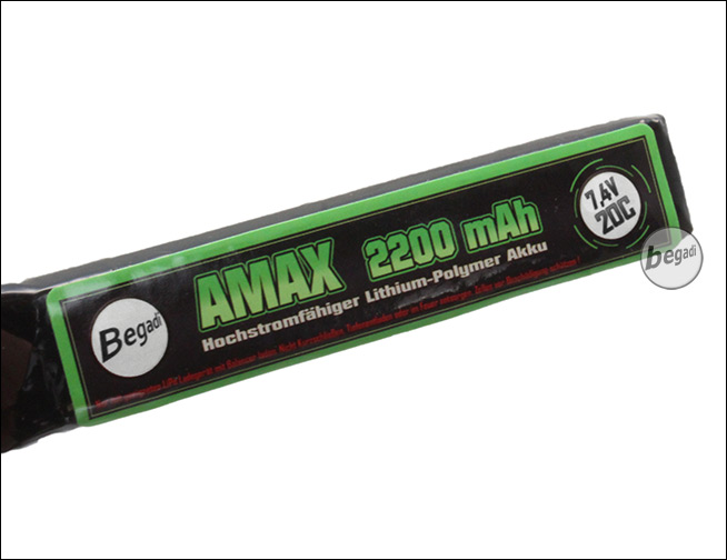 begadi amax lipo akku 7 4v 2200mah 20c double stick mit. Black Bedroom Furniture Sets. Home Design Ideas