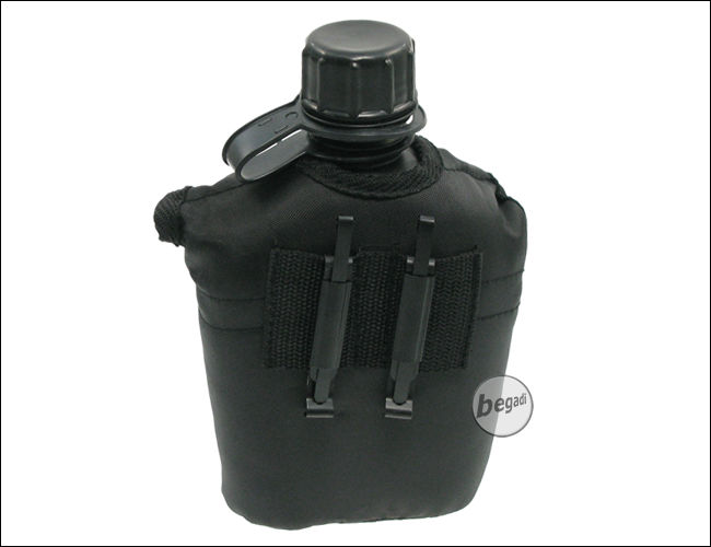 us plastikfeldflasche mit nylonbezug schwarz 1 l feldflaschen zubeh r outdoor k che. Black Bedroom Furniture Sets. Home Design Ideas