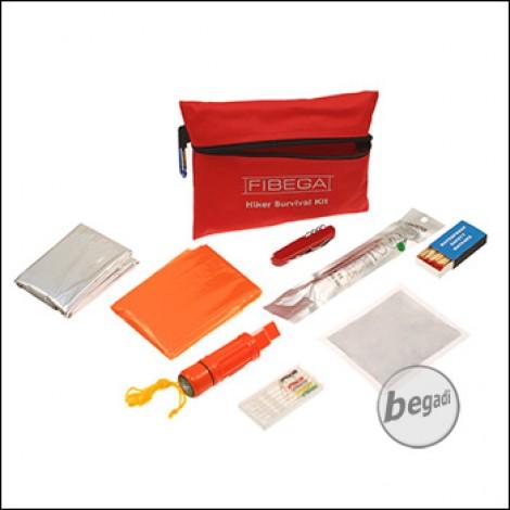 Fibega Hiker Survivalkit, mit Tasche, rot