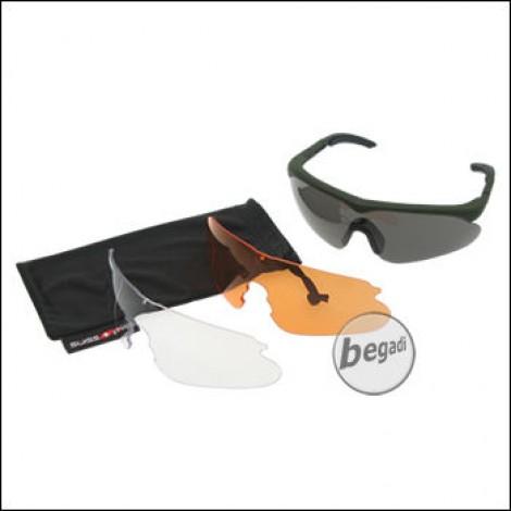 """SWISS EYE Schutzbrille -Raptor- Set, Fassung """"rubber green"""", mit 3 Gläsern [10163]"""