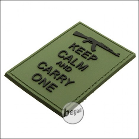 "BE-X 3D Abzeichen ""Carry an AK"", aus Hartgummi, mit Klett - olive"