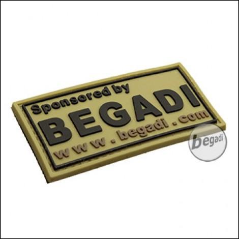 """BE-X 3D Abzeichen """"Sponsored by Begadi"""" aus Hartgummi, mit Klett - TAN"""