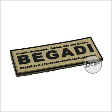 """3D Abzeichen """"Begadi Shop"""" aus Hartgummi, mit Klett - TAN"""