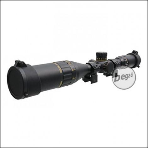 """Begadi Sniper Scope / Zielfernrohr """"CROW44"""" 4.5-18 x 44 mit bel. Absehen (rot/grün/blau), Montage & Sonnenblende"""