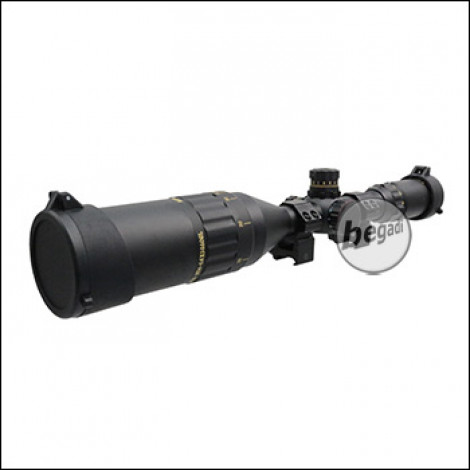 """Begadi Sniper Scope / Zielfernrohr """"CROW50"""" 4-16 x 50 mit bel. Absehen (rot/grün/blau), Montage & Sonnenblende"""