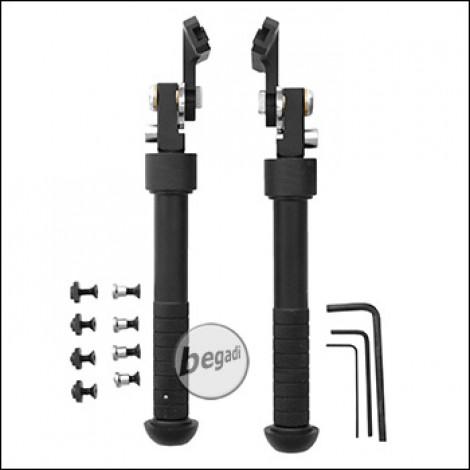 """Begadi """"Hercules"""" Zweibein / Bipod, Sidemount Edition, für M-LOK & Keymod Systeme -schwarz-"""