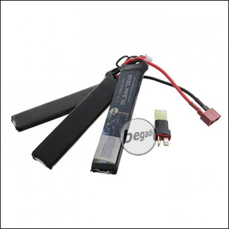 """Begadi LiPo Akku 11,1V 25C Triple Stick """"Robur 100/1100"""" mit Dean & Adapter auf Mini TAM"""