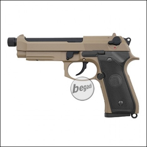 "KJW M9 A1 ""PRO"" GBB, TAN, Gas Version, mit 14mm Gewinde (frei ab 18 J.)"