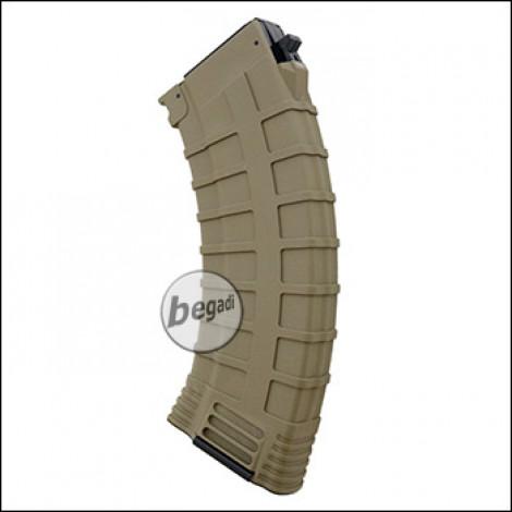 Begadi AK 47 Reinforced Polymer Midcap Magazin (130 BBs) -TAN-