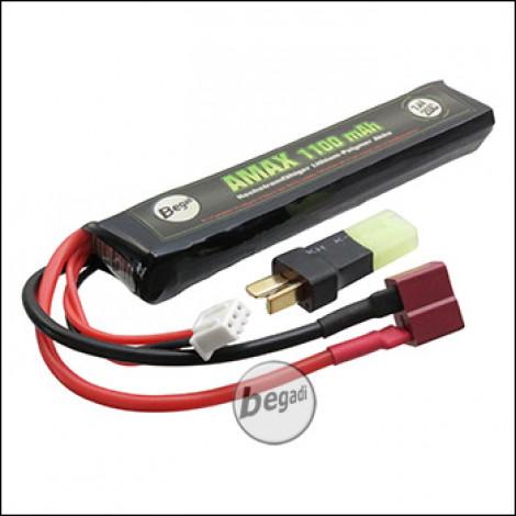"""Begadi """"AMAX"""" LiPo Akku 7,4V 1100mAh 20C Single Stick mit Dean & Adapter auf Mini TAM"""
