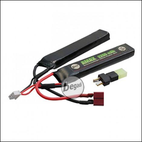 "Begadi ""AMAX"" LiPo Akku 7,4V 2200mAh 20C Double Stick mit Dean & Adapter auf Mini TAM"