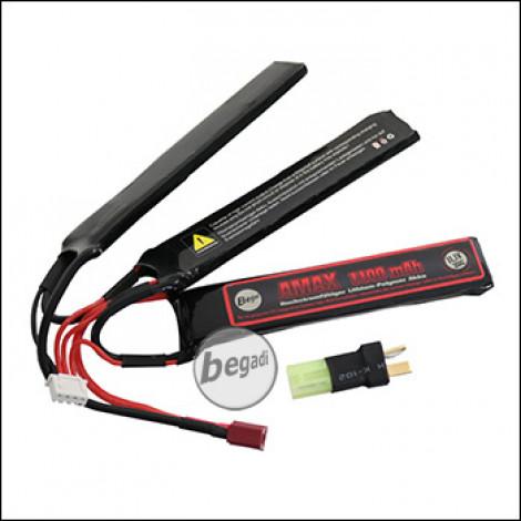 """Begadi """"AMAX"""" LiPo Akku 11,1V 1100mAh 20C Triple Stick mit Dean & Adapter auf Mini TAM -rot-"""