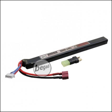 """Begadi """"AMAX"""" LiPo Akku 11,1V 1300mAh 25C Slim / AK Single Stick mit Dean & Adapter auf Mini TAM -beige-"""