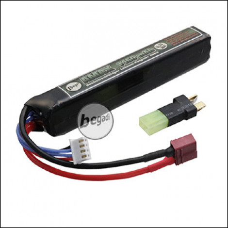 "Begadi ""AMAX"" LiPo Akku 11,1V 1450mAh 30C Single Stick mit Dean & Adapter auf Mini TAM -olive- (für max. 90A Systeme / Motoren)"