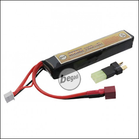 "Begadi ""AMAX"" LiPo Akku 11,1V 1100mAh 20C ""Compact"" Single Stick mit Dean & Adapter auf Mini TAM -beige-"