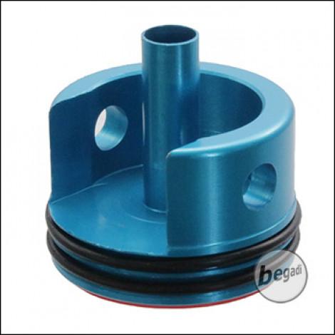 Battleaxe V2 CNC Alu Cylinderhead mit zwei O-Ringen (blau)
