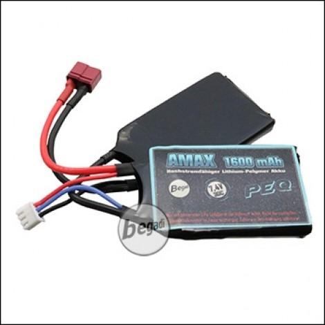 "Begadi ""AMAX"" LiPo Akku 7,4V 1600mAh 30C ""PEQ"" mit Dean -hellblau-"