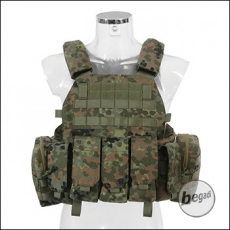 BEGADI Value Plattenträger / Plate Carrier Set, mit 5 Taschen - flecktarn