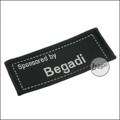 """Aufnäher """"Sponsored by Begadi"""", neue Version - schwarz"""