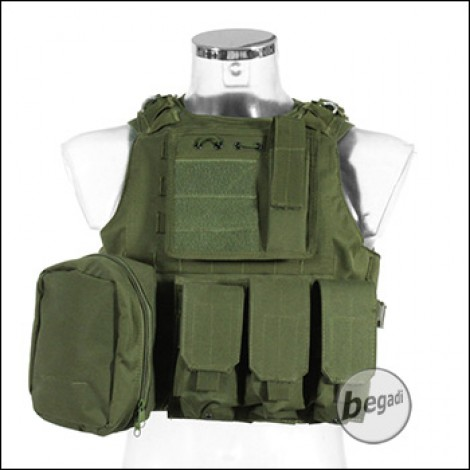 "PHX Plate Carrier / Plattenträger ""Amphibious"", mit 3 Taschen - olive"