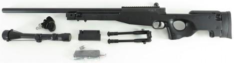 WELL MB01C Sniper inkl. Zielfernrohr & Zweibein -schwarz-, Downgrade Edition < 0,5 J.