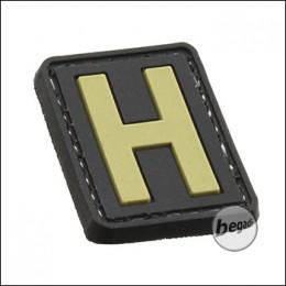 """3D Abzeichen """"Buchstabe H"""" aus Hartgummi, mit Klett"""