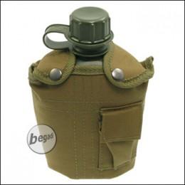 US Plastikfeldflasche, mit Nylonbezug, coyote, 1 L