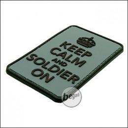 """BE-X 3D Abzeichen """"Soldier on"""" aus Hartgummi, mit Klett - grün/grau"""