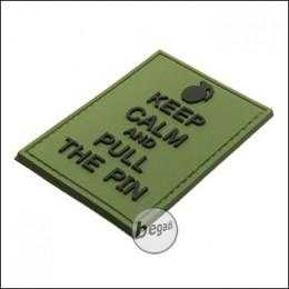 "BE-X 3D Abzeichen ""Pull the Pin"", aus Hartgummi, mit Klett - olive"