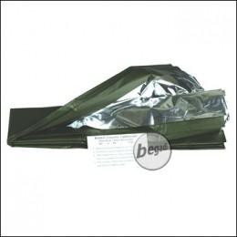 Rettungsdecke, silber/olive, 215 x 130 cm