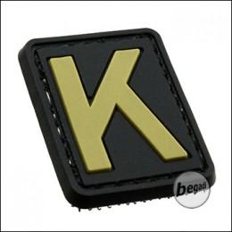 """3D Abzeichen """"Buchstabe K"""" aus Hartgummi, mit Klett"""