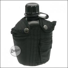 US Plastikfeldflasche, mit Nylonbezug, schwarz, 1 L