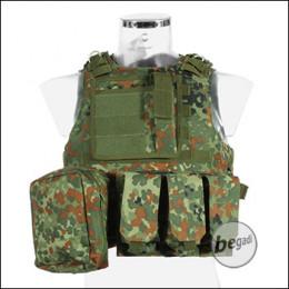 """PHX Plate Carrier / Plattenträger """"Amphibious"""", mit 3 Taschen - flecktarn"""