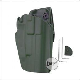 Begadi Basic Universal Hartschalen- Holster, voll verstellbar, für größere Pistolen -olive- (rechts)