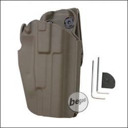Begadi Basic Universal Hartschalen- Holster, voll verstellbar, für größere Pistolen -TAN- (rechts)