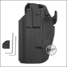 Begadi Basic Universal Hartschalen- Holster, voll verstellbar, für größere Pistolen -schwarz- (links)