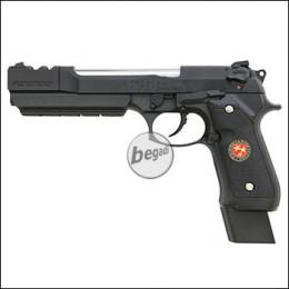 "WE M9 / M92 Barry Burton GBB -schwarz- ""Upgrade Version"" mit Begadi Stainless Efficiency Ventil, Koffer & Maintainance Kit (frei ab 18 J.)"