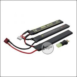 """Begadi """"AMAX"""" LiPo Akku 11,1V 1200mAh 20C Triple Stick mit Dean & Adapter auf Mini TAM -gelb-"""