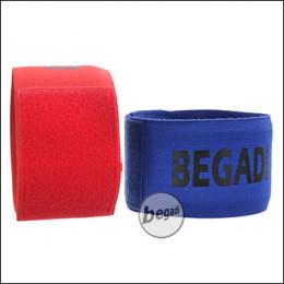 BEGADI Team Armband / Patch Set, rot/blau, 2 Stück, elastisch - mit Klettfläche für Patches