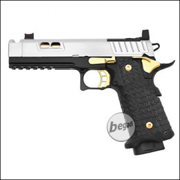 Army Armament R604 HiCapa GBB inkl. RedDot Mount -Chrom / Gold Edition- (frei ab 18 J.)