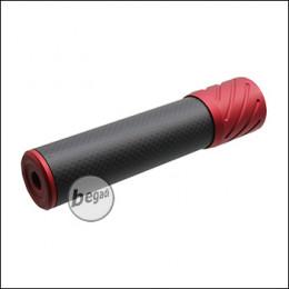 Begadi DSL2 Carbon Optik Silencer, mit 14mm CCW Gewinde, 150mm Version -rot-
