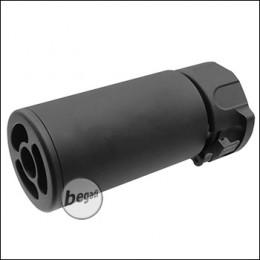 """5KU WD """"Mini"""" Schalldämpfer / Silencer inkl. Flashhider aus Stahl, mit 14mm CCW Gewinde"""