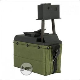 Mini Magazin für A&K M249 Serie, inkl. Akku & Lader, 1500 Schuss - olive