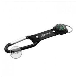Begadi Schlüsselring mit Karabiner, Nylonband & Kompass