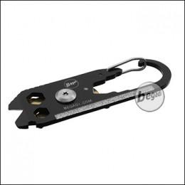 "Begadi Keyring Tool ""RIFLE"", mit Karbiner und Pin-Drücker,  schwarz/gold"