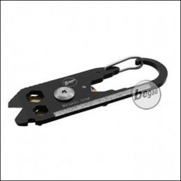 """Begadi Keyring Tool """"RIFLE"""", mit Karbiner und Pin-Drücker,  schwarz/gold (gratis ab 175 EUR)"""
