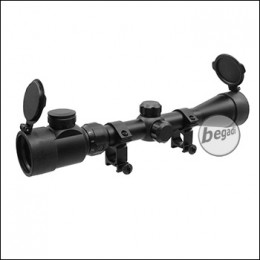Begadi Regular Zielfernrohr 3-9x40, mit bel. Absehen (rot/grün), Montage & FlipUp Caps -schwarz-