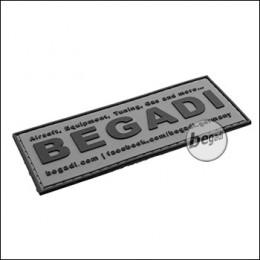 """3D Abzeichen """"Begadi Shop"""" aus Hartgummi, mit Klett - grau"""