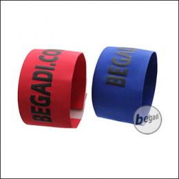 BEGADI Team Armband / Patch Set, rot/blau, 2 Stück, elastisch