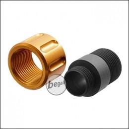 SLONG GBB Silencer Adapter (11mm+ / 14mm-), mit goldfarbener Schutzkappe
